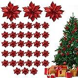 Flor de Pascua Artificial Navidad (Pack de 36) - Poinsettia Artificial Purpurina Roja Deco...
