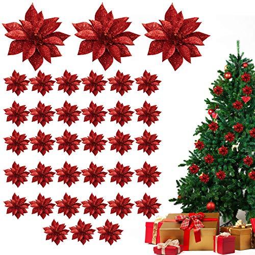 Weihnachtsstern Kunstblumen (36 Stk) - Künstlicher Weihnachtsstern Glitzer Rot Weihnachtsdeko für Girlanden, Kränze, Adventskranz – Weihnachtsschmuck Blüte als Baumschmuck, Deko, Weihnachten