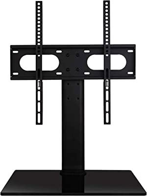 WALI Table Top TV Stand with Glass Base and Security Wire Fits Most 32-47inch LED, LCD, OLED and Plasma Flat Screen TV with VESA Pattern up to 400x400 (TVDVD-01), Black