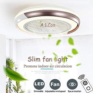 Ventilador de techo Lámpara de techo moderna y creativa Moderna Con Control Remoto Invisible Ultra Silencioso Niños Regulables Habitación Dormitorio Sala De Estar Lámpara De Techo 60W, Marrón