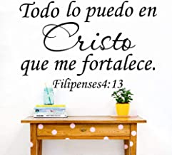 Fifikoj Wall Sticker Philippians 4:13 All I Can in Christ That Strengthens Me Spanish Bible Verse Wall Decal Sticker Lord Bible Words l70x46cm