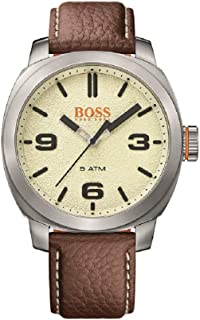 Men's Cape Town Stainless Steel Quartz Watch with Leather Calfskin Strap, Brown, 22 (Model: 1513411)