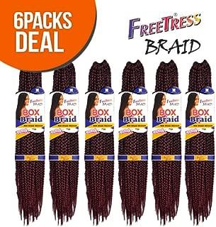 FreeTress Synthetic Hair Crochet Braid Medium Box Braids (6-Pack, 1B)