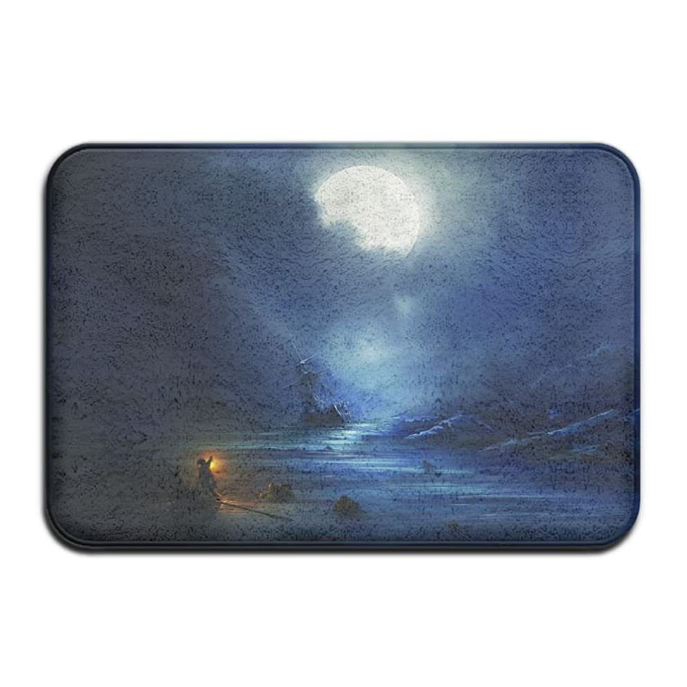 Magical Moonlight Sight Non Slip Indoor Doormat For Home Office Clean Absorbent Antiskid Kitchen Bath Mats