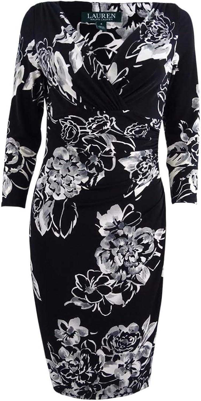 Lauren Ralph Lauren Womens Petites Elsie Floral Print Ruched Party Dress