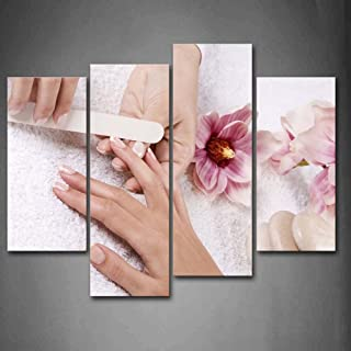 Pink Flowers Cabblestones Someone is Nail-Painting Wall Art Painting Pictures Print On Canvas Art The Picture for Home Modern Decoration