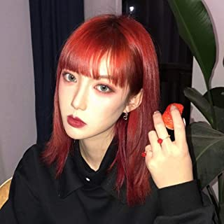 Red Bob Wigs with bangs Bob Cut Straight Wigs Heat Resistant Lolita Party Wig Synthetic Daily Hair Replacement Wig for Black Women 14 inches- Burgundy Red