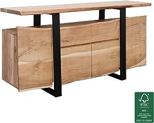 KS-Furniture Gaya - Cómoda de Madera de Acacia Maciza, 175 x 90 x 44 cm, con Puertas y cajones, diseño Moderno, diseño Macizo, Armario pequeño de Madera Maciza, Armario rústico