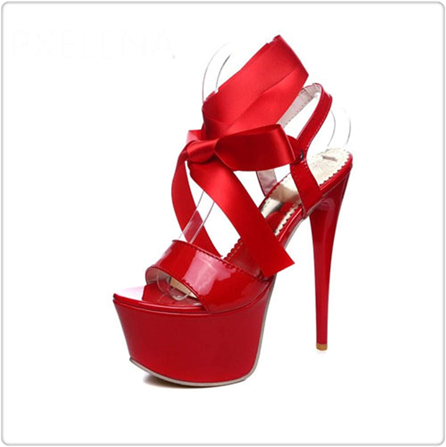 Xjizm 2018 Summer Sexy Super High Heels 16cm Platform Gladiator Sandals Woman Cross-Tied Rome Sandals Party Ladies shoes 109 Red 10