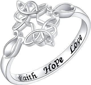 Sterling Silver Engraved Faith Hope Love Celtic Sideways Cross Ring for Women Girls, 18