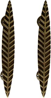 Aakrati Cabinet Handles Brass Made in Royal Leaf Design - Antique Brass Drawer Pulls, Modern Cabinet Hardware - Length - 1...