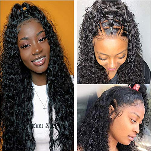 "Lace Front Human Hair Water Wave Wigs 13x4 Lace Frontal Deep Curly Wigs100% Unprocessed Remy Hair Lace Frontal Wig 26""Curly Wave Wigs Human Hair Pre Plucked with Baby Hair For Black Women Wig(26 Inch)"