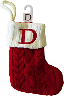 St. Nicholas Square Mini Cable Knit Stocking-Letter D, Mini 7