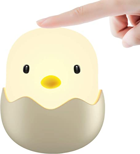 Tecboss Baby Night Light, Cute Chick Night Light for Kids, Soft Silicone Kids Nightlight Rechargeable LED Touch Lamp,...
