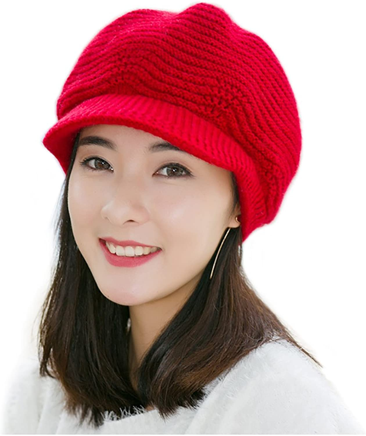 7d32987dc70 Proboths Knit Hat, Winter Hat Stretch Ski Beanie Cap with Visor Women  Knitted ntwegn311-New Clothing