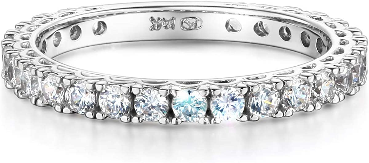 Wellingsale Ladies Solid 14k Yellow -OR- White Gold Polished CZ Cubic Zirconia Semi-Eternity Anniversary Wedding Band