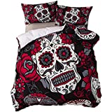 feelyou Sugar Skull Duvet Cover Set King Size Flowers Floral Printed Bedding Set Decorative Gothic Microfiber Polyester Comforter Cover with 2 Pillow Shams Scary Horror Design, Red Black, 3Pcs