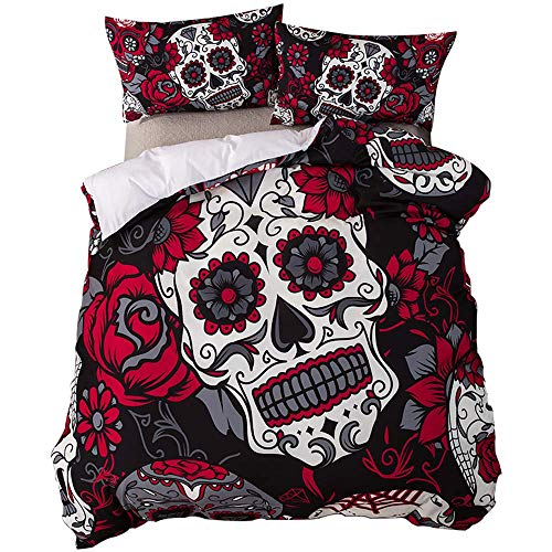 feelyou Full Duvet Cover Set Sugar Skull Floral Printed Comforter Cover Set Novelty Microfiber Polyester Gothic Bedding Set Flowers Horror Skulls Quilt Cover with 2 Pillow Shams, Red Black, 3Pcs