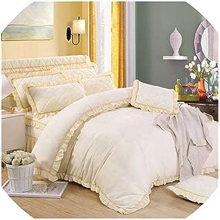 TaiGu 4Pcs Flannel Quilting Princess Style Luxury Bedding Sets Queen King Size Duvet Cover Set Bed Skirt Set Pillowcase bedclothe,6,Queen Size B 4pcs