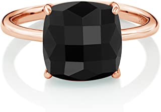Sterling Silver Rose Gold Plated Checkerboard Square Black Onyx Ring 3.75 Ctw (Available 5,6,7,8,9)