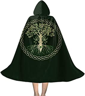 Celtic Ritual Norse Nordic Viking Goddess Wiccan Wicca Halloween Girls Boy Cosplay Party Costumes Witch Hooded Robe Cloak Black
