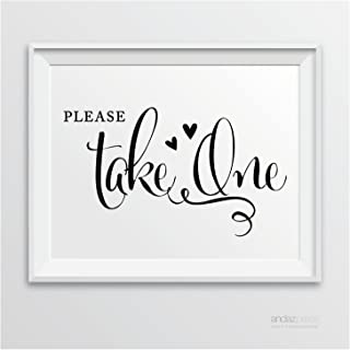 Andaz Press Wedding Party Signs, Formal Black and White, 8.5-inch x 11-inch, Please Take One Favors & Gifts Sign, 1-Pack
