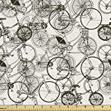 Ambesonne Sketchy Fabric by The Yard, Vintage Retro Bicycle Bike Hand Drawn Vector Abstract Design Image Artwork, Decorative Fabric for Upholstery and Home Accents, 1 Yard, Black and White