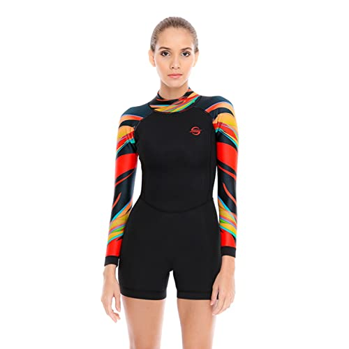 Platinum Sun Women s Neoprene Shorty Wetsuit Long-Sleeve Swimsuit Water  Suits for Diving Surfing Kayaking 2cea74355