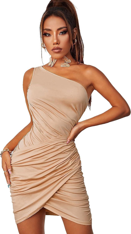 Verdusa Women's One Shoulder Ruched Sleeveless Club Bodycon Short Dress