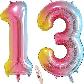 """globos numeros 13 años, globo número 13 arcoíris para niña niño infantil, 40"""" Figuras helio globo inflable gigante,grande iridiscentes colores rosados rosa decoración fiesta de cumpleaños (xxxl 100cm)"""