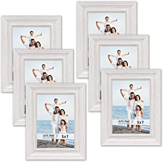 LaVie Home 5x7 Picture Frames (6 Pack, White Wood Grain) Rustic Photo Frame Set with High Definition Glass for Wall Mount & Table Top Display