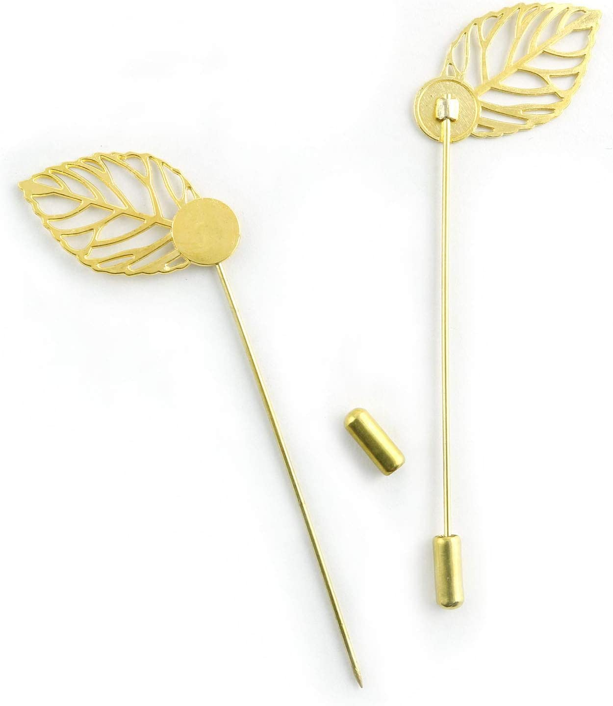 NX Garden 20pcs Leaf Brooch Metal Round Tray Stick Lapel Pin DIY Handmade Jewelry Findings Long Needle Pin for Badge Scarf Hat Safety Pins Gold