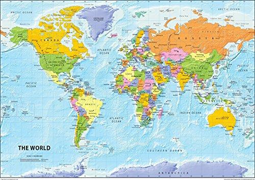 I Love Maps Weltkarte, The World Political Map, Papier laminiert , A2, Größe: 42 x 59,4 cm
