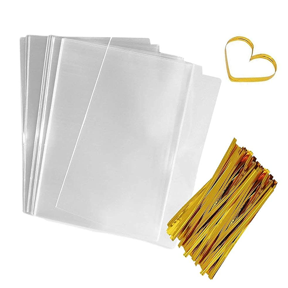 Flat Bags Clear Cellophane Bags 200 PCS Clear Cello Treat Bags Party Favor Bags for Gift Bakery Cookies Candies Dessert with 200 PCS Metallic Twist Ties (6 by 9 Inch)
