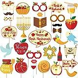 Kreatwow Rosh Hashanah Photo Booth Décorations du Nouvel an Juif Shana Tova Miel Grenade Poissons Bâtons de Centres de Table Fournitures de fête juives 32 Pcs