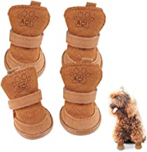 Riccioofy Dog Shoes,Puppy Boots for Teddy Poodle Chihuahua Cat Puppy Dog with Adjustable Straps Anti-Slip Sole Paw Protector 4 Pack