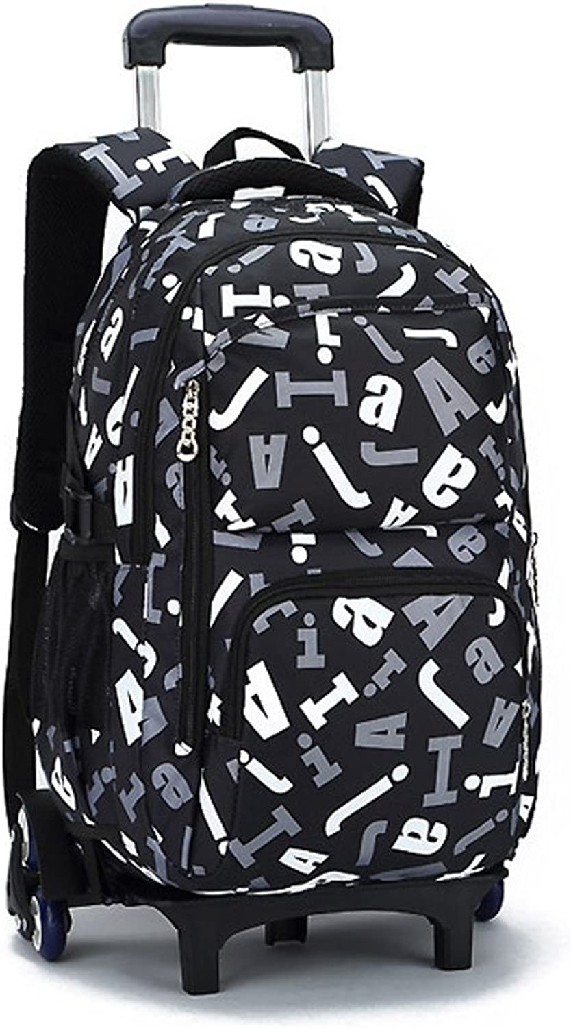 Boys Girls Nylon Backpack Kids Trolley Backpack Rolling Backpack Travelling Hiking Shoulder Bags with Removable Wheeled for Students