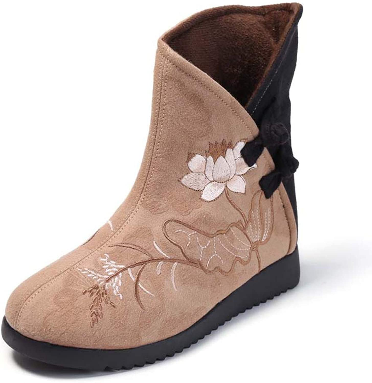 Woman Ankle Boots Autumn Winter Embroidered Cloth Boots Non-Slip Ladies Cotton shoes Retro Cheongsam shoes (color   C, Size   38)