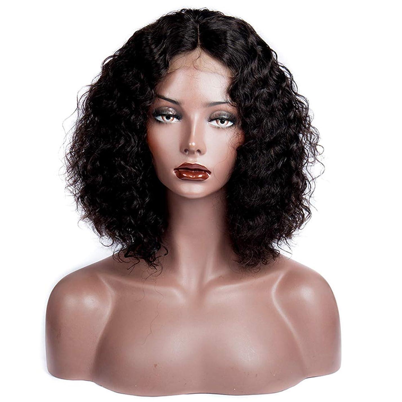 無人加速度感謝する黒人女性180%密度巻き毛のブラジルのバージンヘア13x6レースの前部かつら人間の髪の毛のかつら赤ん坊の髪とグルーレスにかつら(14インチ)