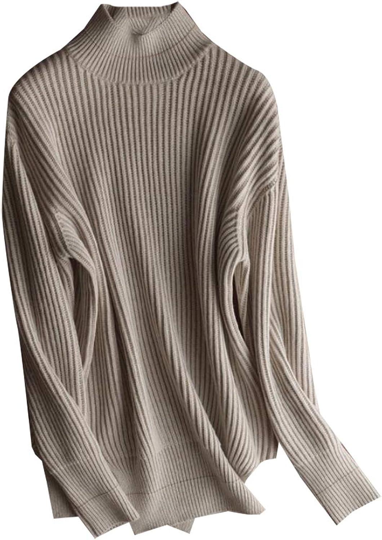 Jxfd Women's Fashion Mock Neck Sweater Long Sleeves Knit Sweater Top