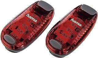 Hama LED-Sicherheitslicht 2er Set Dauerlicht inkl. Batterie, Blinklicht ideal für Jogger, Schulkinder, Radfahrer rot