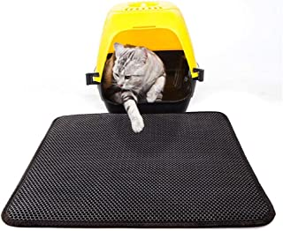 dise/ño de panal doble 45 * 60cm Negro estera higi/énica para gatos estera para arena de gatos impermeable Alfombrilla para arena de gatos