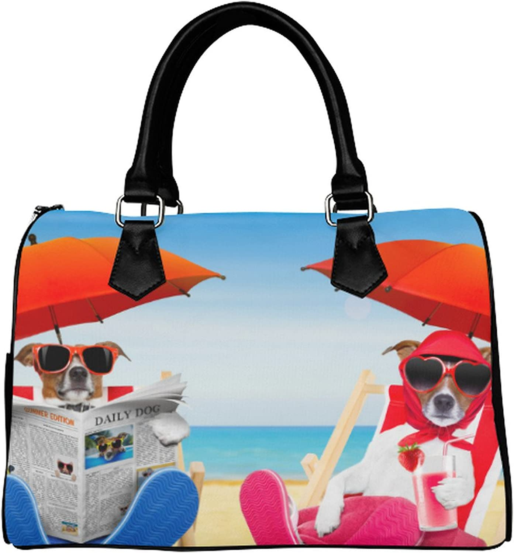 Yourfantasia Dog Reading Newspaper on a Beach Chair Boston Bag Handbag