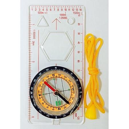 マップメジャー コンパス 地図用 方位磁石 ルーペ付き ストラップ付き