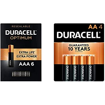 Duracell Optimum AAA Batteries | 6 Count | Long Lasting Triple A Battery & CopperTop AA Alkaline Batteries - Long Lasting, All-Purpose Double A Battery for Household and Business – 4 Count