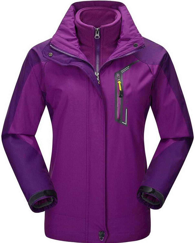 LNYF-OV Damen 3 In 1 Jacke Wasserabweisender Ganzjahresmantel, Verstellbare Kapuze Damenjacken, Reiverschlusstaschen, Packbare Kapuze - Ideal Winter, lila