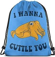 Emonye I Wanna Cuttle You Drawstring Backpack Rucksack Shoulder Bags Gym Bag