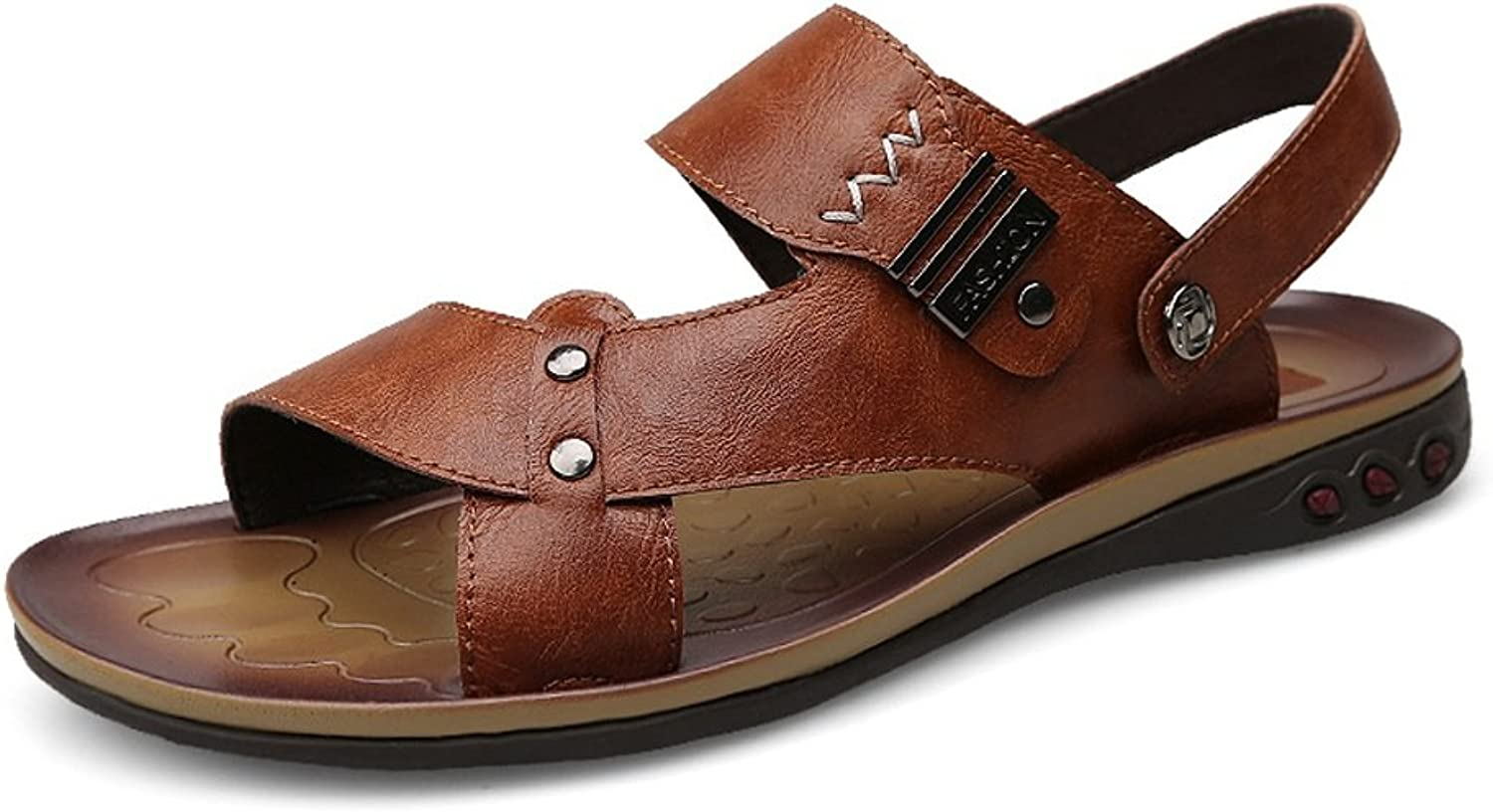 MUMUWU Men's Faux Leather Beach Slippers Casual Non-slip Soft Sole Sandals shoes Adjustable Backless guess