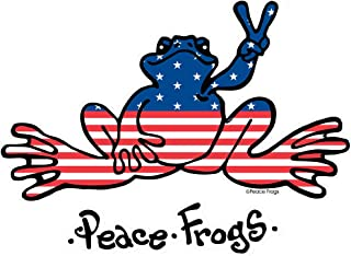 Enjoy It Peace Frogs U.S.A. Peace Frogs Car Sticker, Outdoor Rated Vinyl Sticker Decal for Windows, Bumpers, Laptops or Crafts, 2 pieces