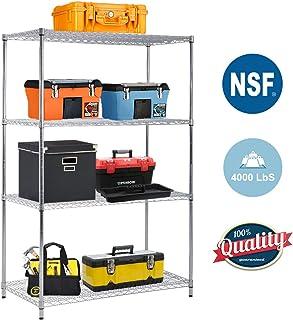 4-TierWireShelvingUnit Steel Large Metal Shelf Organizer Garage Storage Shelves Heavy Duty NSF Certified Commercial Grade Height Adjustable Metal Rack 4000 LBS Capacity 24D x 48W x 72H Zinc